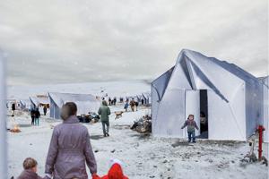 Der Prototyp eines aufgebauten Zelthauses